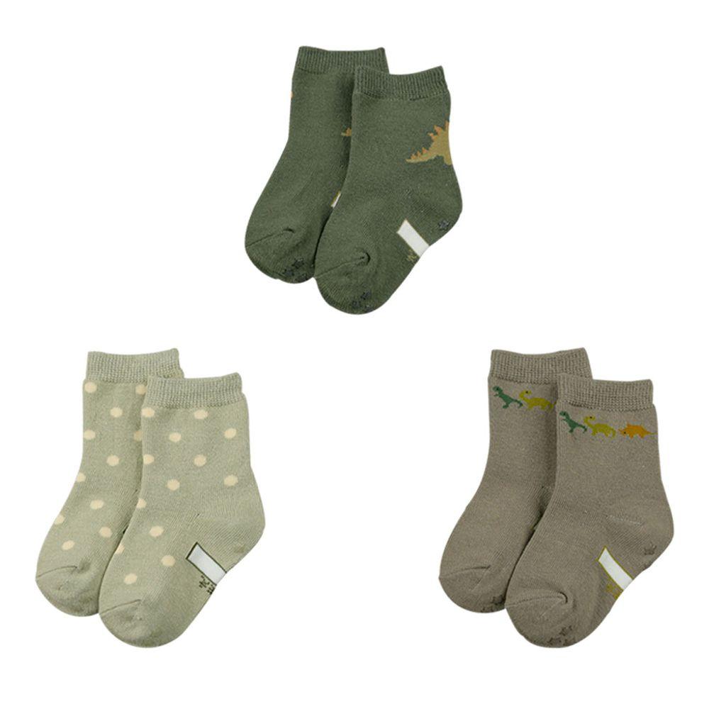 akachan honpo - 男中筒襪3雙組-恐龍-綠色 (9~14cm)