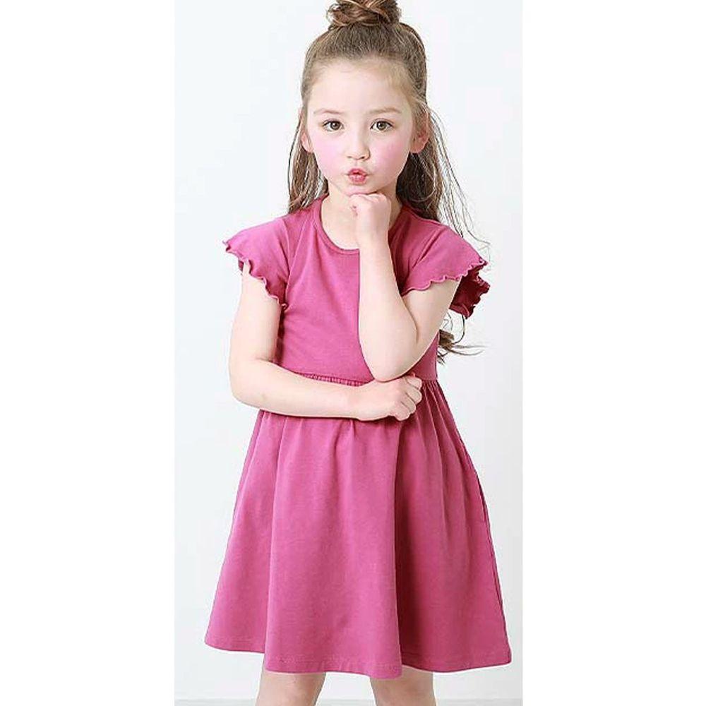 日本 devirock - 純棉木耳邊短袖小洋裝-莓果粉