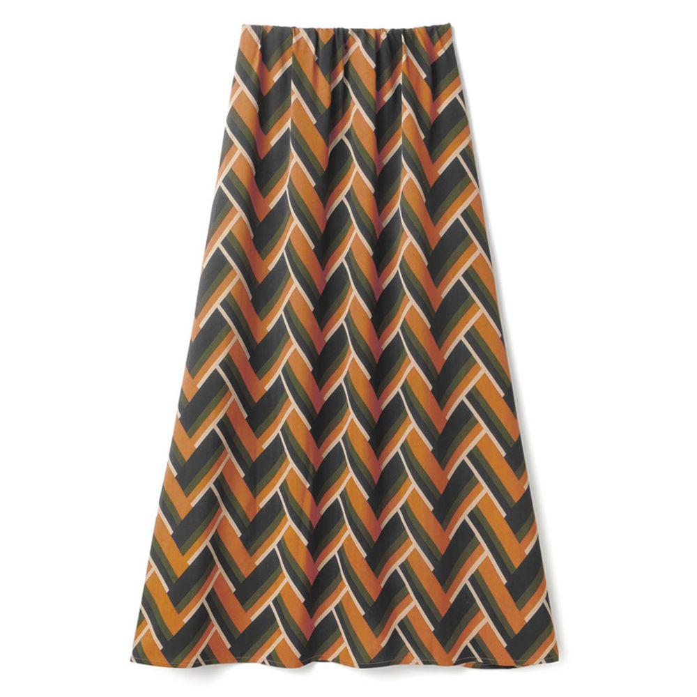 日本 GRL - 時尚幾何長裙-焦糖棕