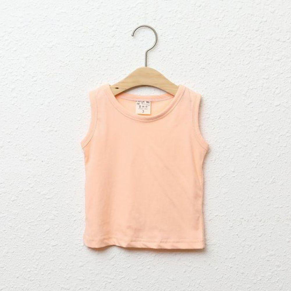 韓國製 - 純棉小背心-蜜桃粉