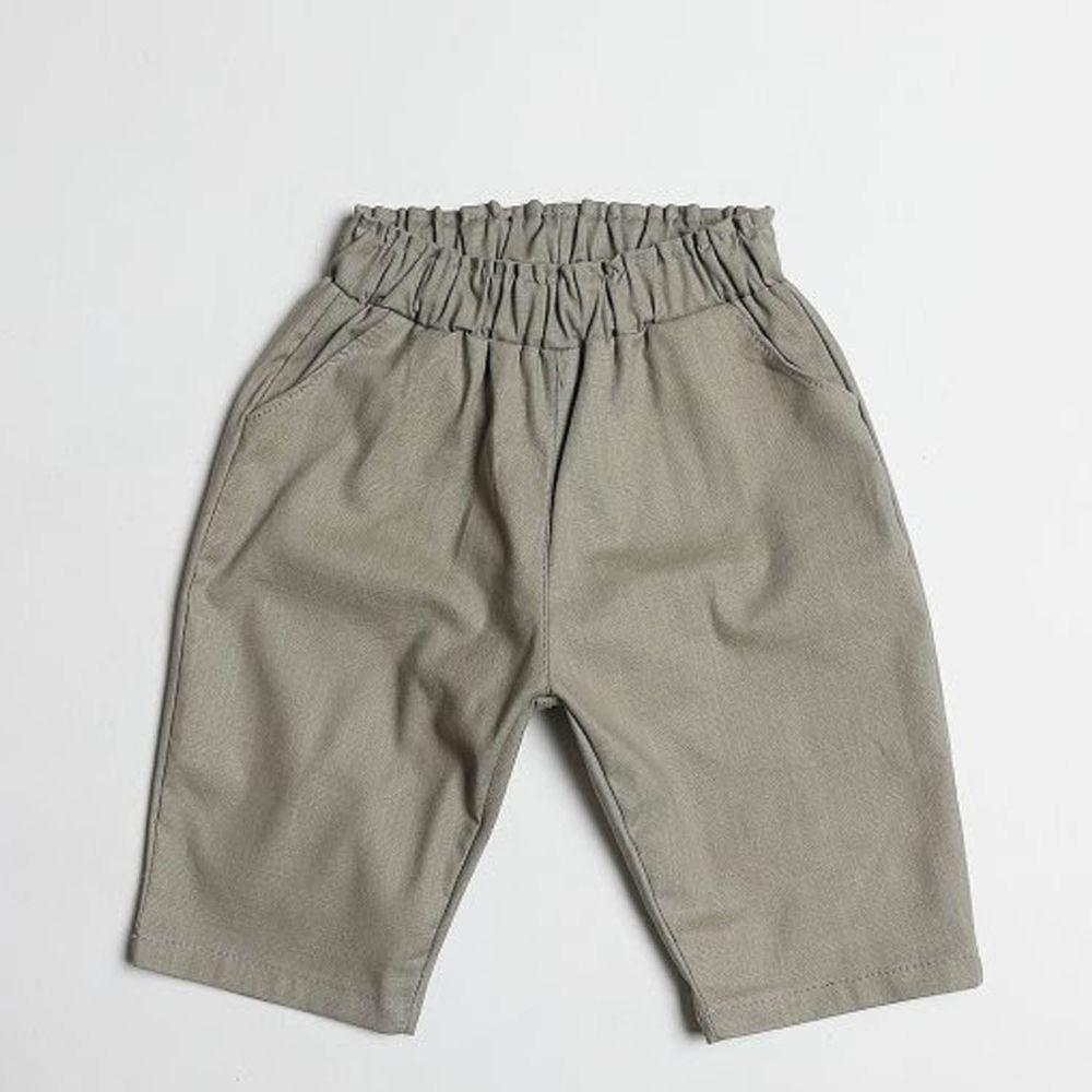 韓國製 - 棉麻7分哈倫褲-灰綠