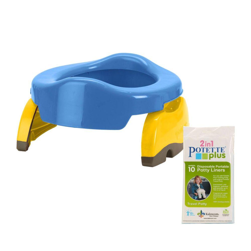 美國 Potette Plus - 可攜式馬桶-藍色+拋棄式防漏袋10入裝)
