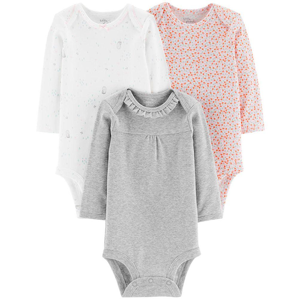 美國 Carter's - 嬰幼兒長袖包屁衣三件組(有機棉)-灰白貓頭鷹