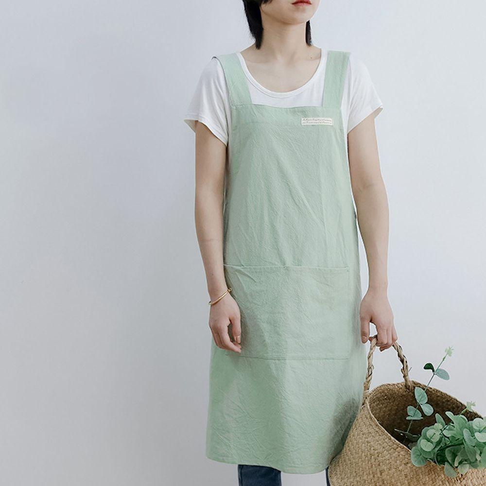 簡約風口袋棉麻圍裙-薄荷綠
