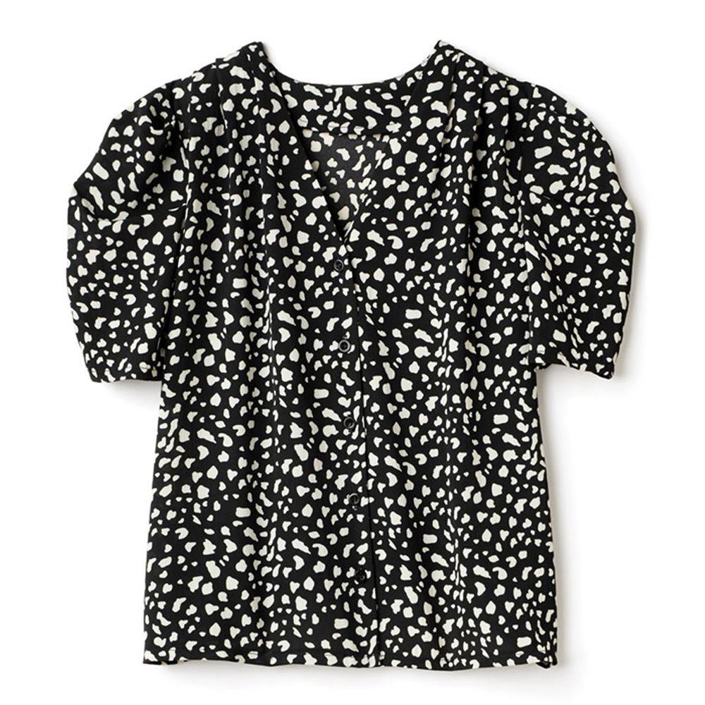 日本 GRL - 復古V領豹紋雪紡短袖襯衫-帥氣黑