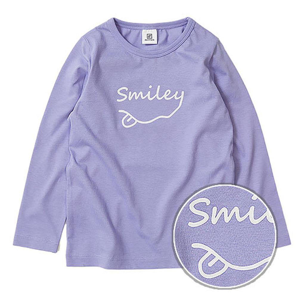 日本 devirock - 純棉 定番百搭印花長T-Smiley-紫