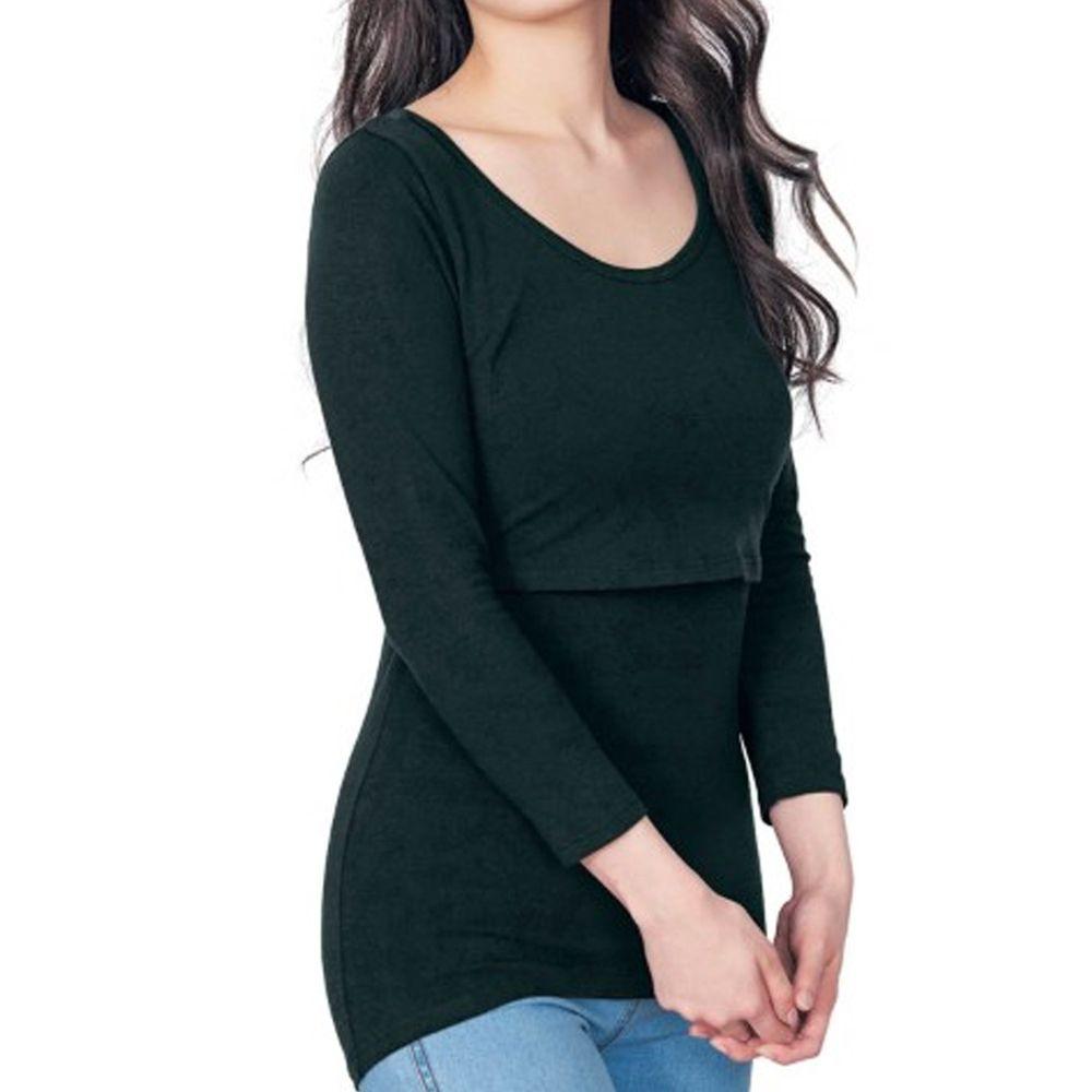 日本千趣會 - 95%棉 (孕哺)雙層設計哺乳發熱衣-黑