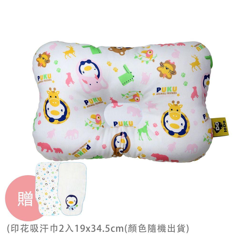 PUKU 藍色企鵝 - Breeze 透氣雲朵枕/護頭枕-動物家-粉色-買贈印花吸汗巾-顏色隨機出貨x2條入