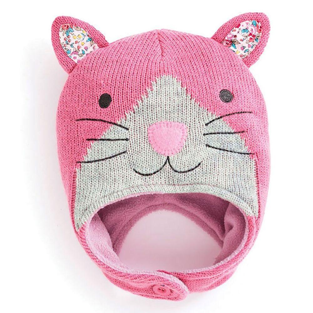英國 JoJo Maman BeBe - 保暖舒適羊毛帽-粉貓咪