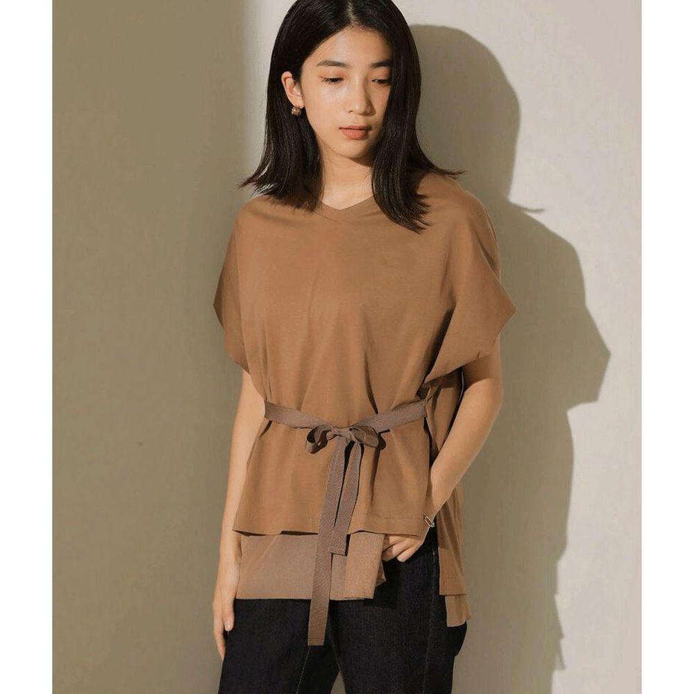 日本 Bou Jeloud - 多層次薄紗設計撞色綁帶短袖上衣-焦糖
