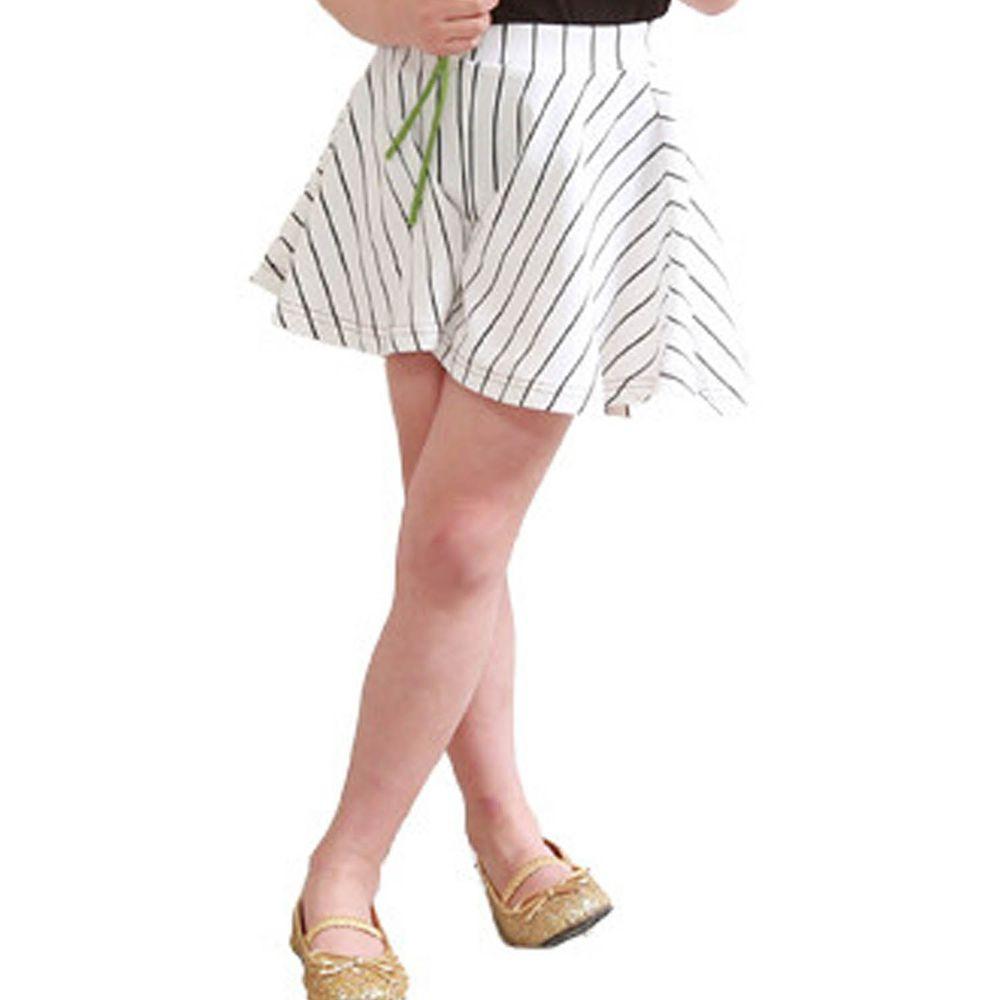 日本 TORIDORY - 蝴蝶結傘狀褲裙-黑白線條