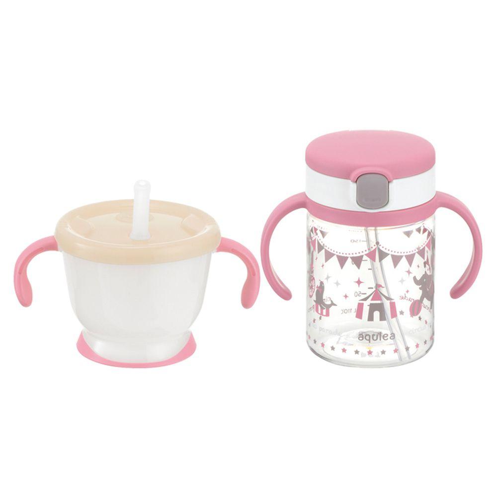 日本 Richell 利其爾 - 粉紅派對水杯組合-動物馬戲團圖案-粉-150ml/200ml