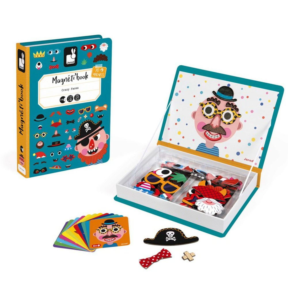 Janod - 【熱賣】磁鐵遊戲書-有趣的臉