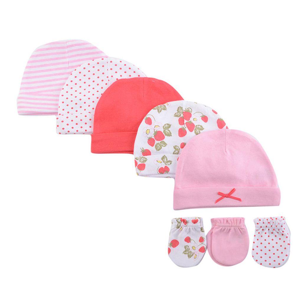 美國 Luvable Friends - 100%純棉新生兒棉帽 保暖帽5件組+防抓手套 護手套3入組-小草莓 (0-6M)