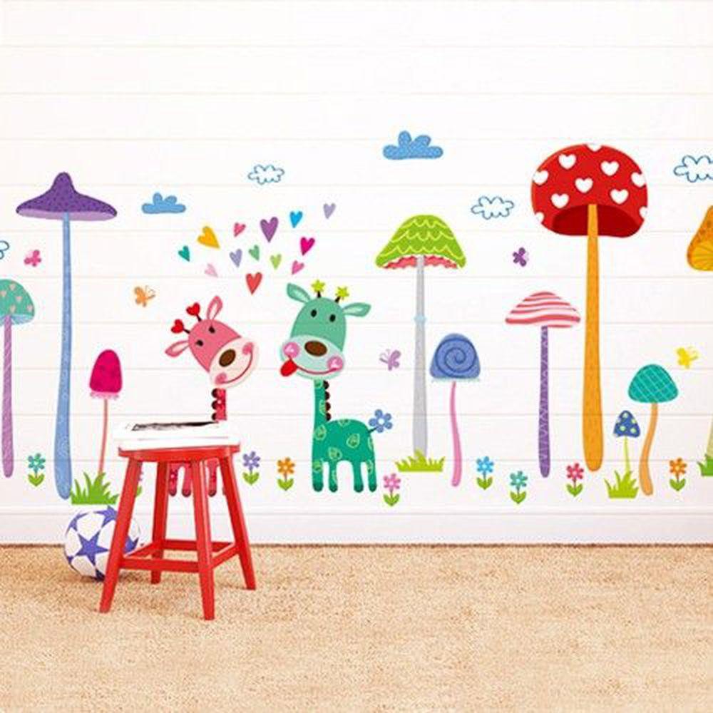 JB Design - 時尚壁貼-蘑菇森林長頸鹿 (70cm*50cm)