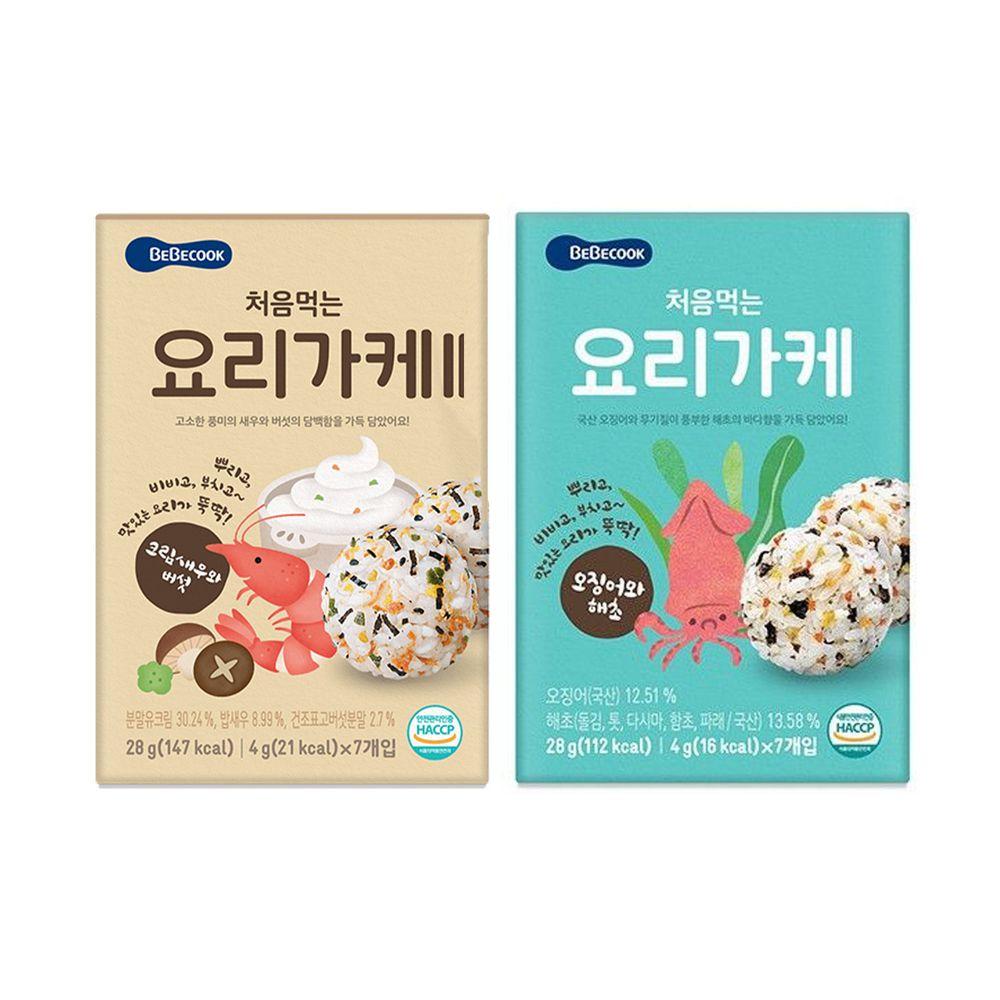 BEBECOOK 寶膳 - 智慧媽媽 初食拌飯香鬆 二盒合購組-奶油香菇鮮蝦*1+海苔魷魚*1