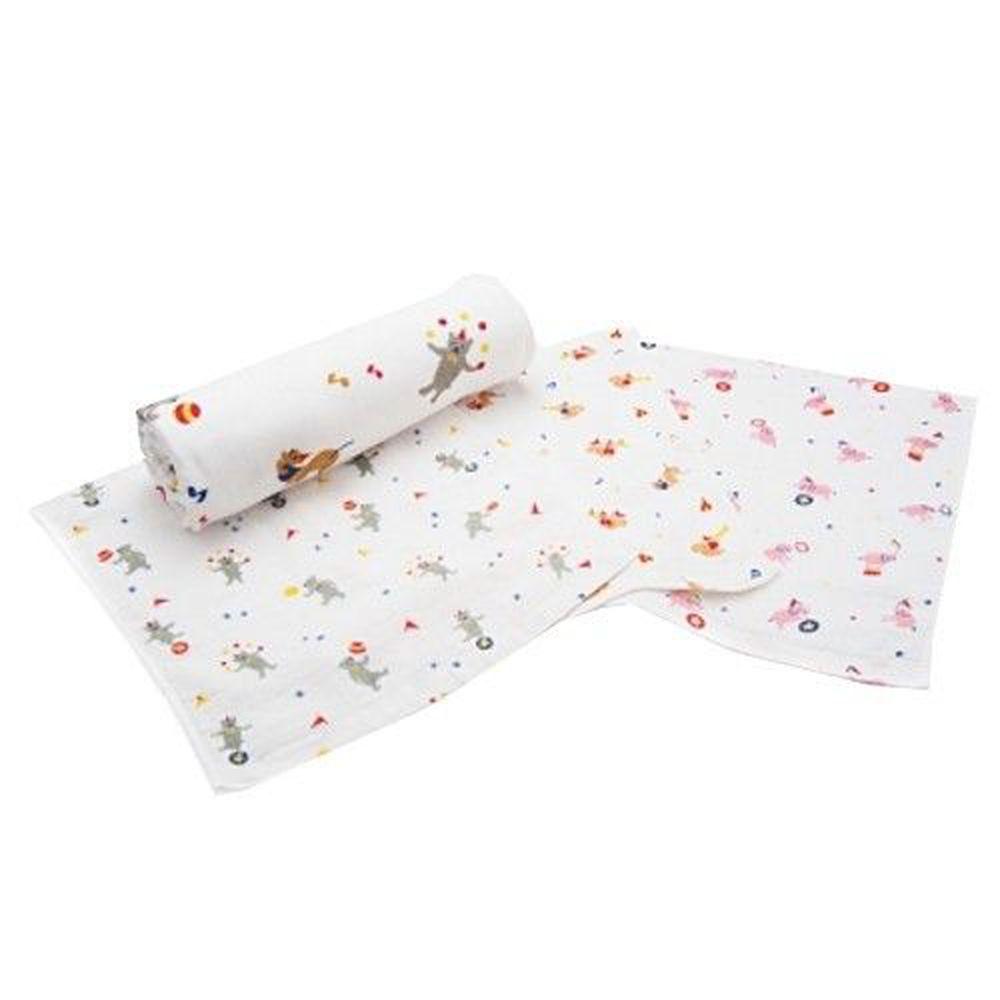 日本桃雪 - 紗布浴巾方巾組合 (小小馬戲團)-熊熊/大象/松鼠 (浴巾(62x124cm)*1 ; 紗布巾(34x34cm)*3)