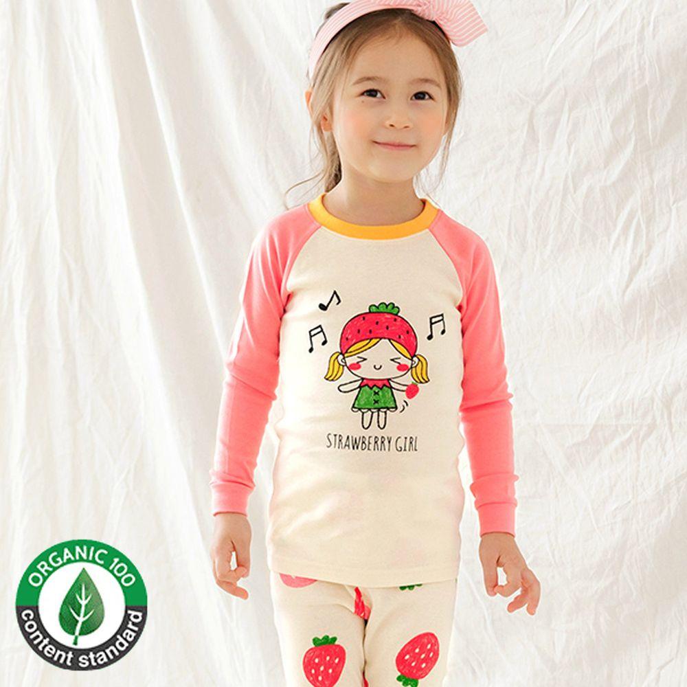 韓國 Maykids - 30支有機棉長袖家居服-草莓女孩