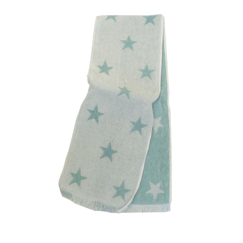 日本涼感雜貨 - 日本製 Eco de COOL 接觸冷感長毛巾-星星-薄荷 (90x16cm)