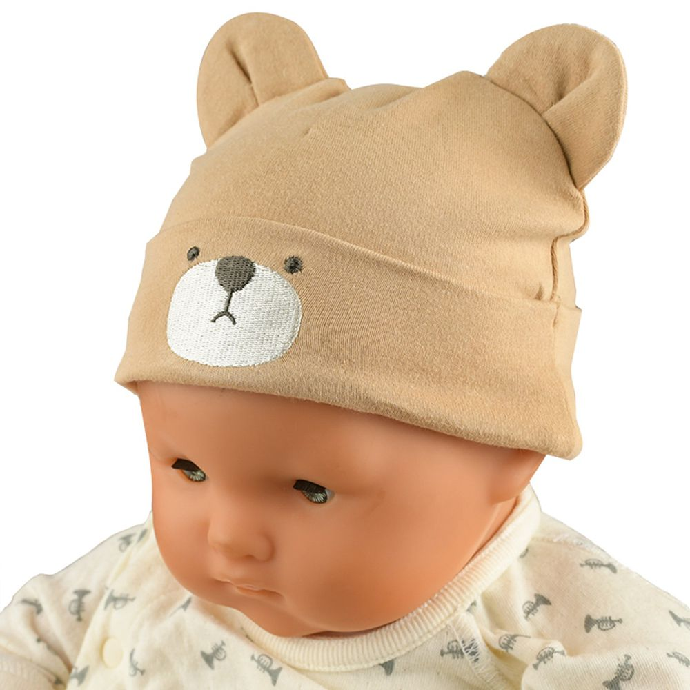 akachan honpo - 小熊刺繡帽-咖啡色 (36~40cm)