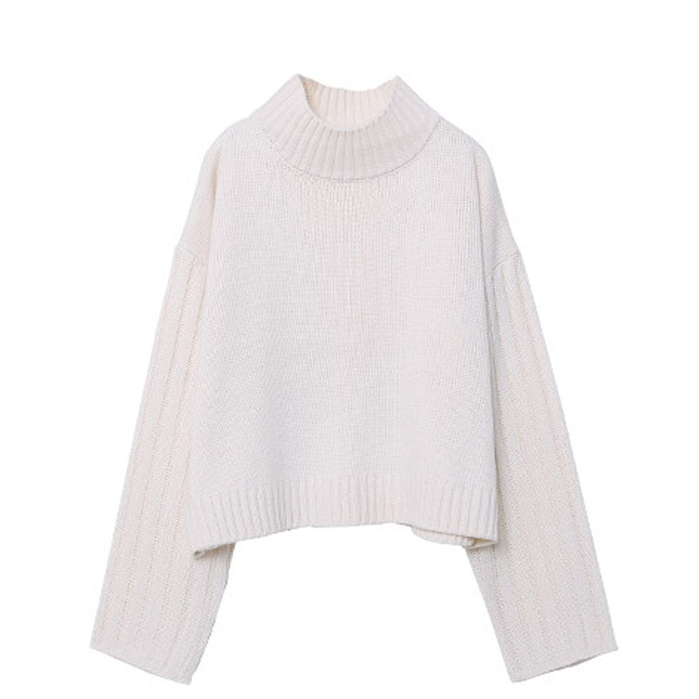 日本女裝代購 - 高領短版針織毛衣-象牙白 (M(Free size))