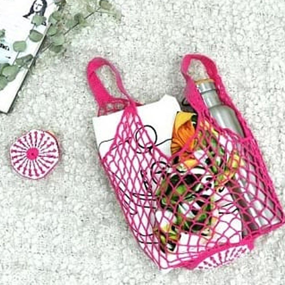 仁舟淨塑 - 貝殼棉網包-桃喜紅