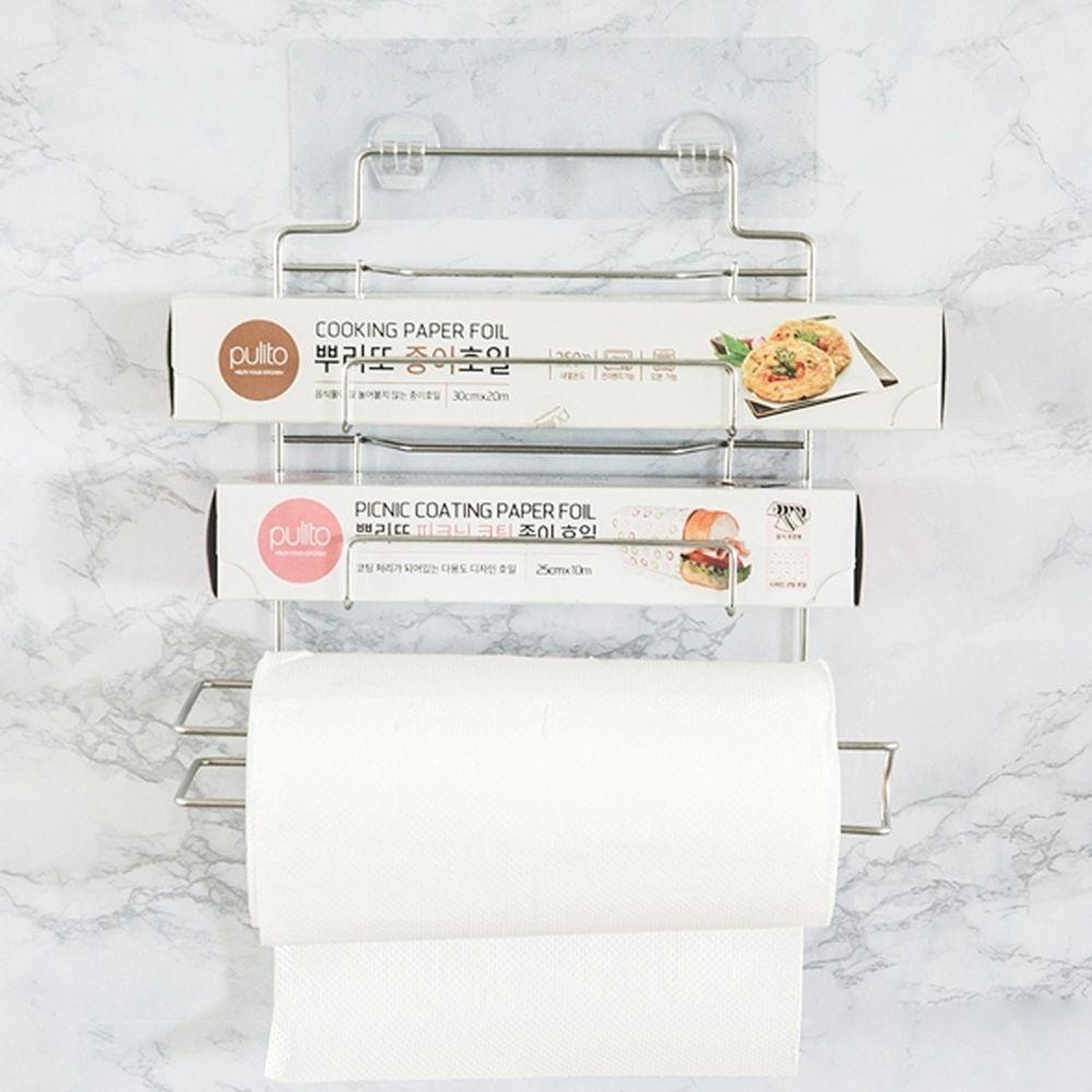 完美主義 Peachy Life - 台灣製304不鏽鋼保鮮膜捲筒紙巾架-peachylife霧面無膠痕