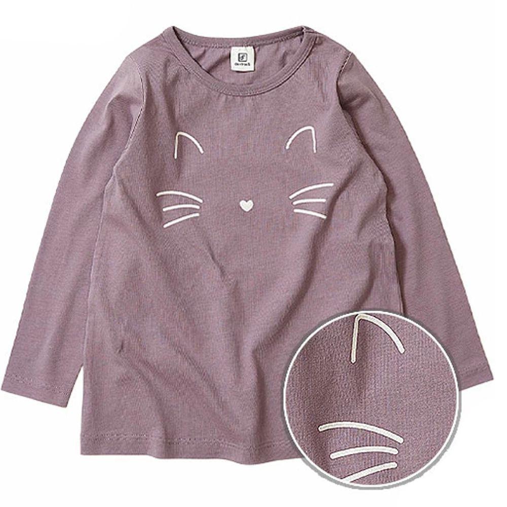 日本 devirock - 純棉 定番百搭印花長T-小貓-灰紫