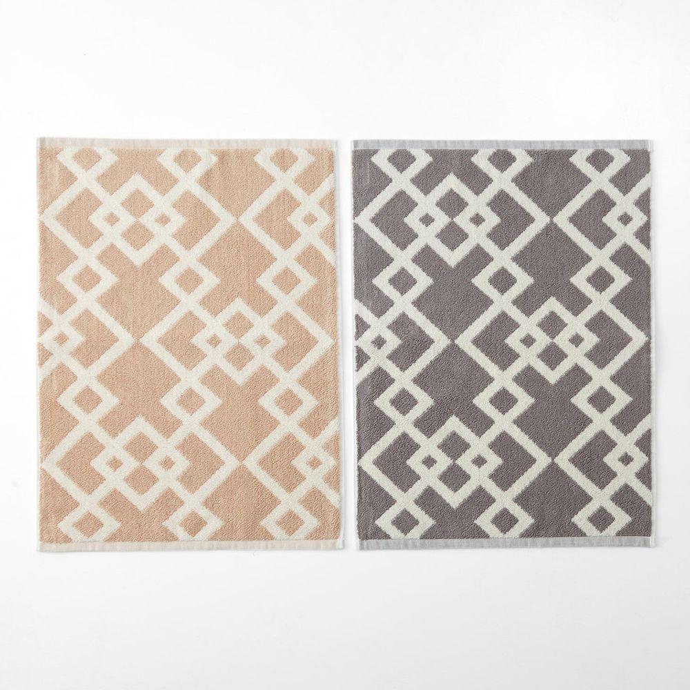 日本千趣會 - 純棉北歐風吸水毛巾腳踏墊(兩入組)-菱形幾何-杏X灰色系 (45*60cm)