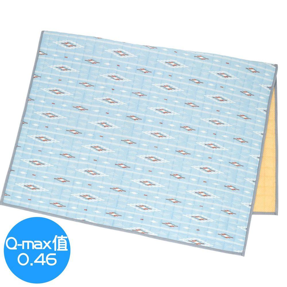 日本 TOMO - 接觸涼感地毯/床墊毯-水藍圖騰 (130x190cm)