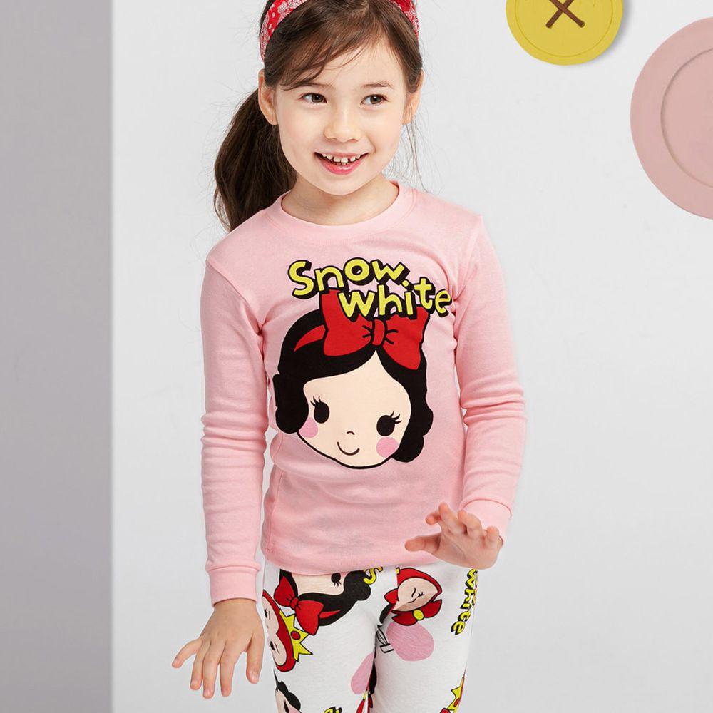 韓國 Mellisse - 韓製30支無螢光棉長袖家居服-粉紅白雪公主