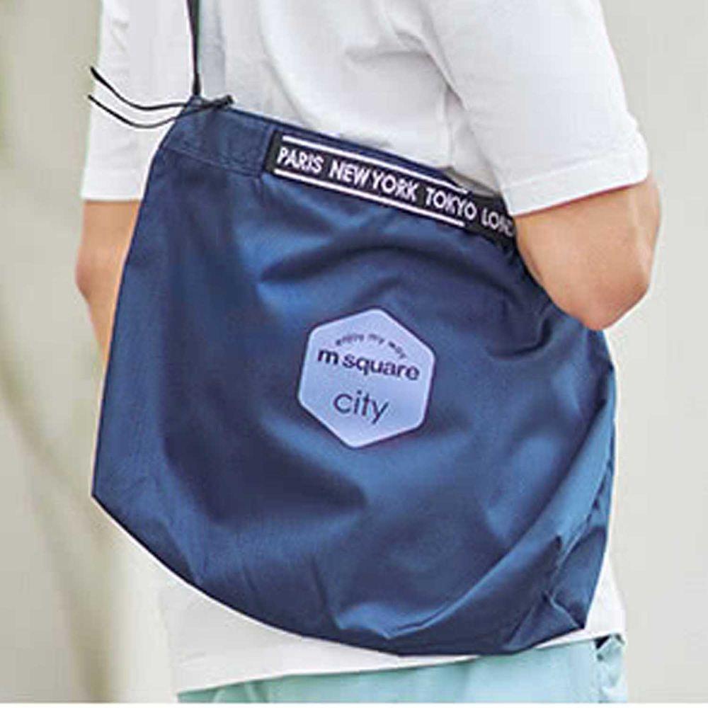 m square - 字母拉鏈折疊購物袋 M-深寶藍 (33.5*10*27cm)
