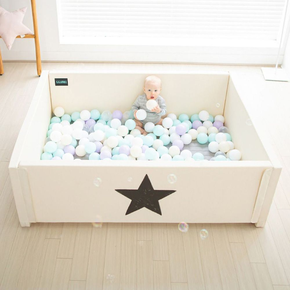 韓國 GGUMBI/DreamB - GGUMBI多功能變形圍欄式地墊嬰兒床(恆溫隔音)-米星星