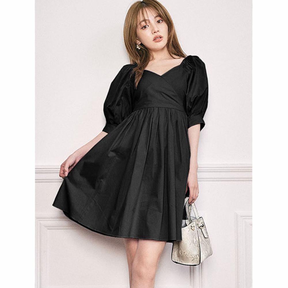 日本 GRL - 2way甜美大蝴蝶結美腰五分袖洋裝-時尚黑