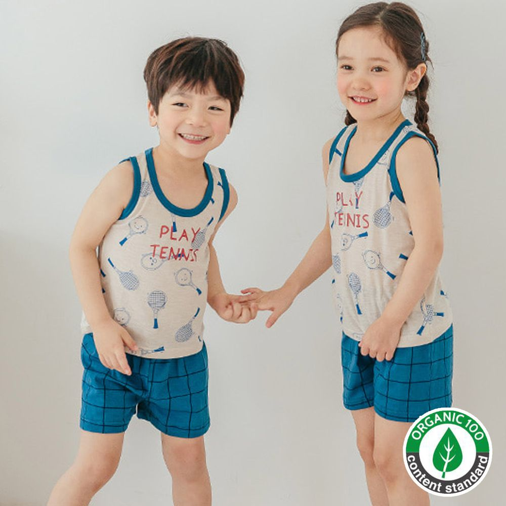 韓國 Puco - 無螢光棉細柔無袖家居服-網球比賽