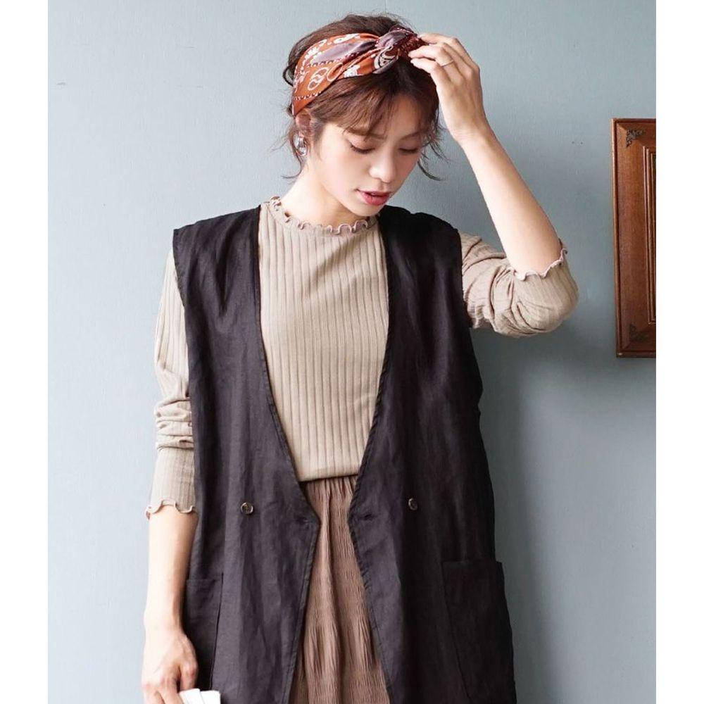 日本 zootie - 輕薄木耳邊粗羅紋貼身長袖上衣-灰杏