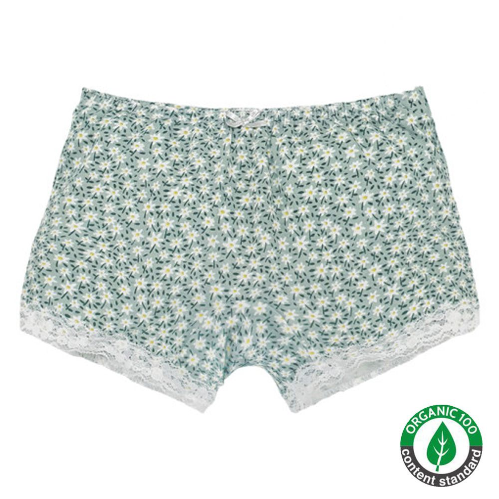 韓國 Ppippilong - 有機棉高彈四角褲(女寶)-滿版小白花