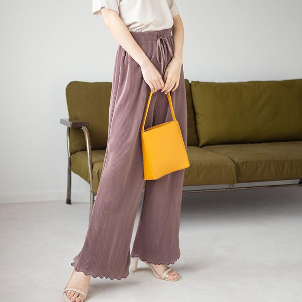 日本 GRL - 慵懶垂墜羅紋寬褲-藕灰粉