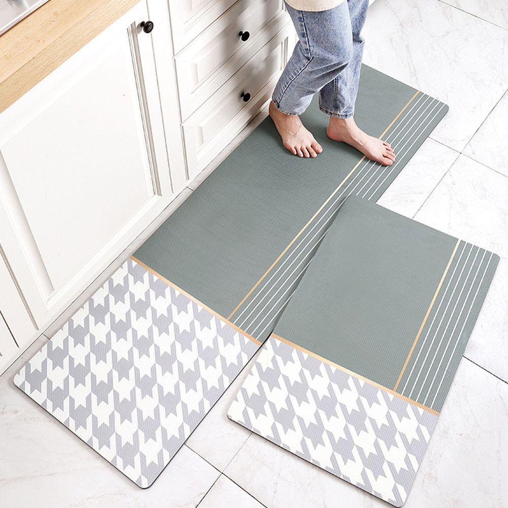 廚房仿皮革PVC防水腳踏墊-千鳥格紋-綠色