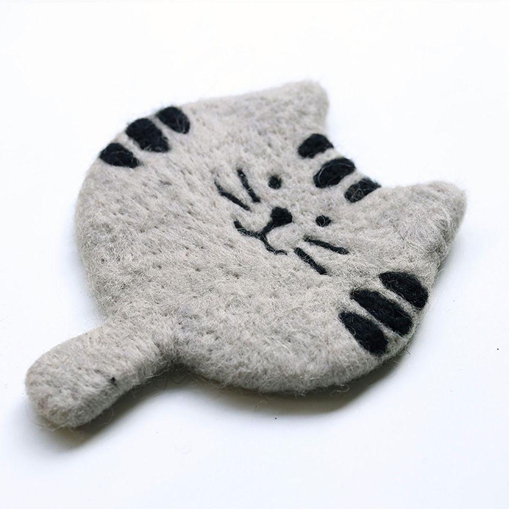 可愛動物造型羊毛氈杯墊-小灰貓