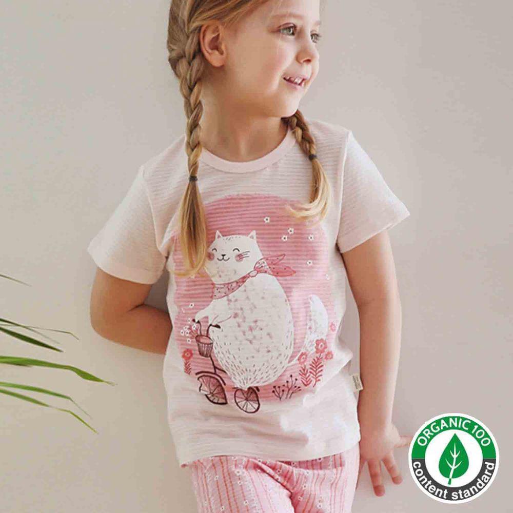 韓國 Mavarm Organic - 有機棉透氣短袖家居服-春天小貓