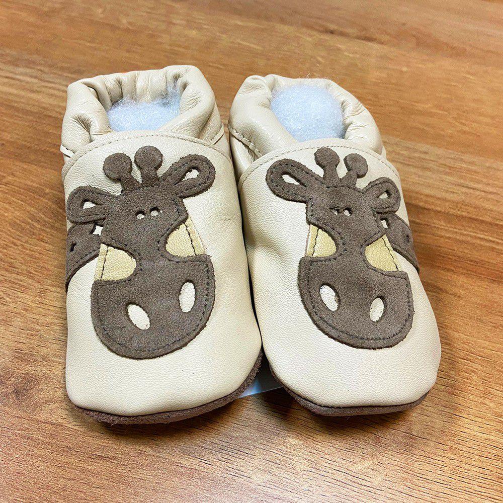 英國 shooshoos - 健康無毒真皮手工鞋/學步鞋/嬰兒鞋/室內鞋/室內保暖鞋-棕色長頸鹿