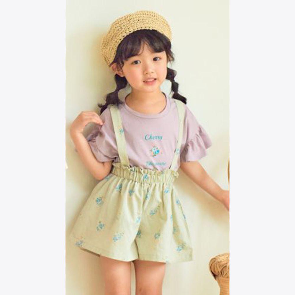 韓國 Hanab - 花朵荷葉袖純棉T-粉紫