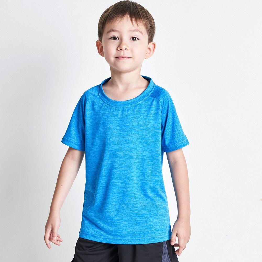 GIAT - 兒童輕量排汗運動上衣-花紗款-天藍色