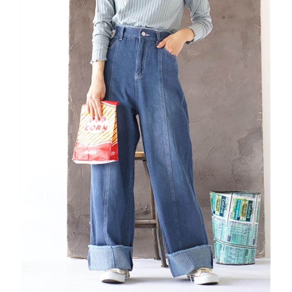 日本 zootie - 純棉反褶鬚邊牛仔寬褲-藍