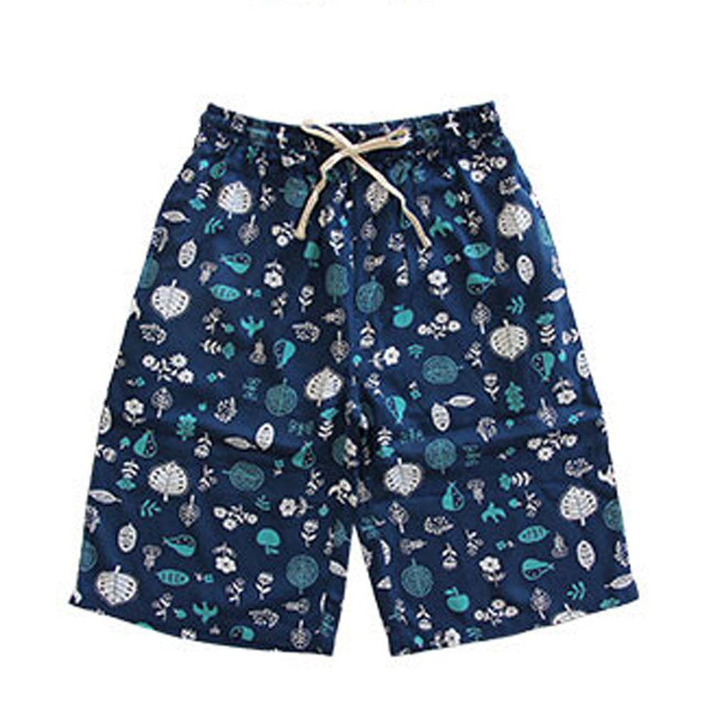 日本女裝代購 - COOL 涼感柔軟舒適家居五分褲/睡褲-北歐森林-深藍 (M-L Free)