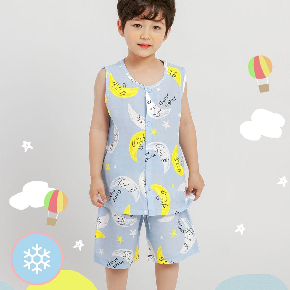 韓國 Mellisse - 韓製涼感嫘縈無袖睡衣/家居服-藍色月光