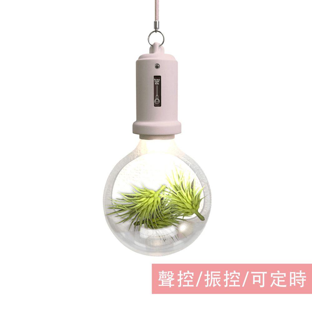日本 TOYO CASE - LED 夜燈壁飾-燈泡小植物系列-粉紅 (約12x6x22cm)