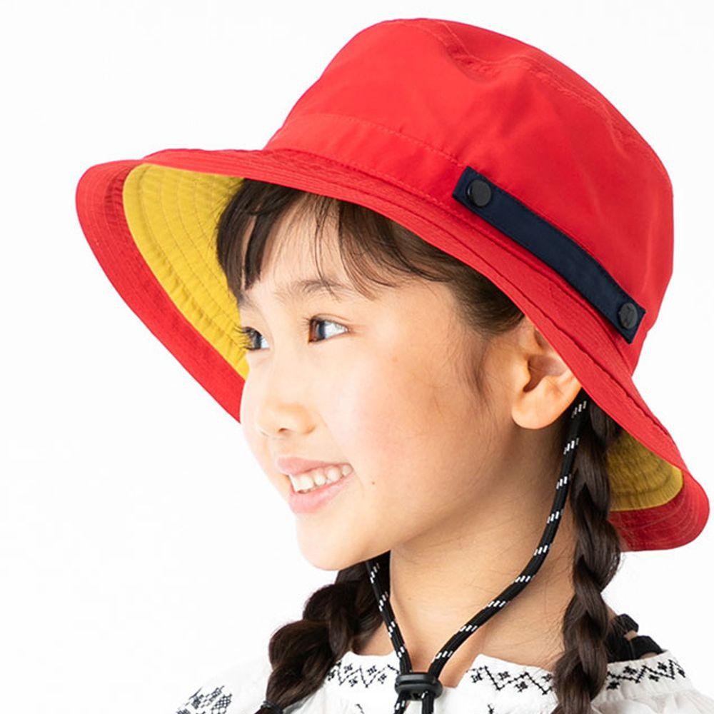 日本服飾代購 - 【irodori】抗UV可捲收防潑水遮陽帽(附防風帽帶)-兒童款-紅X黃內裏 (54cm)