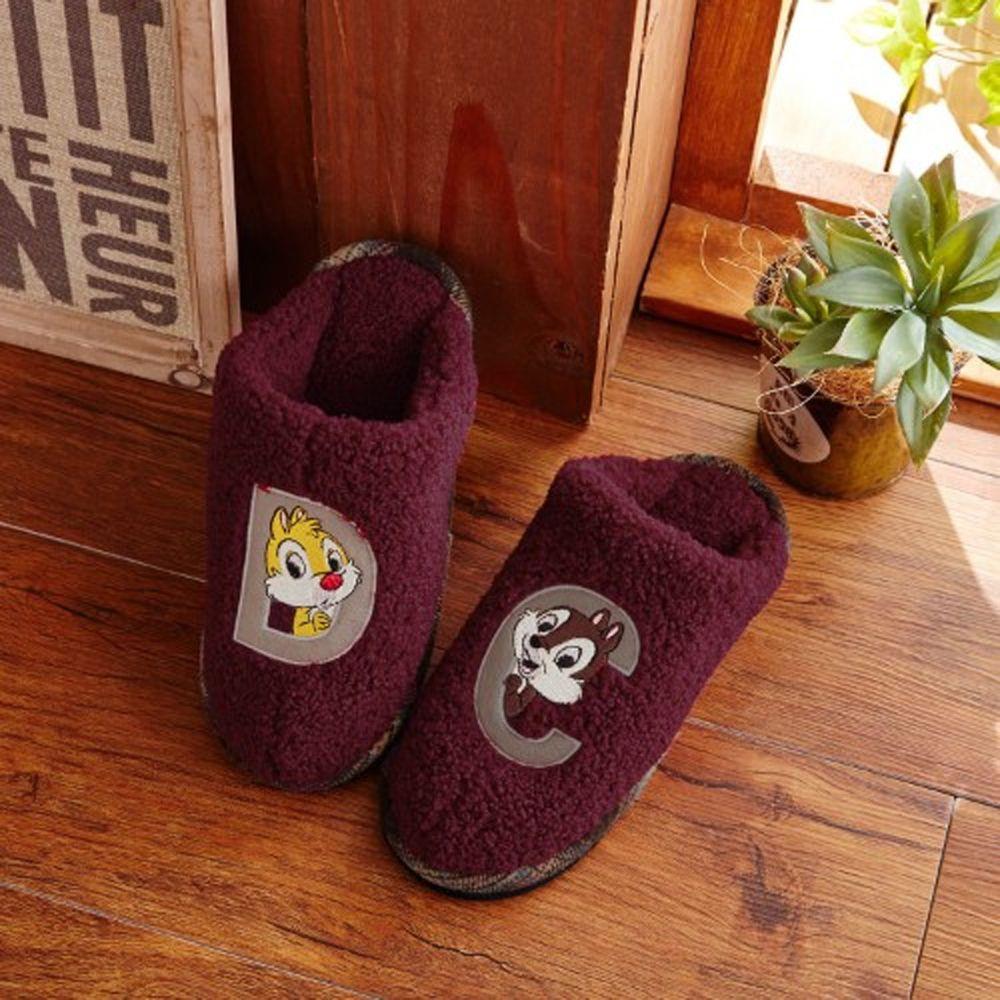 日本千趣會 - 迪士尼室內拖鞋(全包覆毛絨款)-奇奇蒂蒂-咖啡